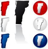 State of Vermont Icons. Vermont Icons in Red White and Blue Royalty Free Stock Photo