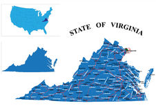 State of Virginia. Detailed state-county map of Virginia. Each file is constructed using multiple layers including county borders, county names, main roads and a Stock Image
