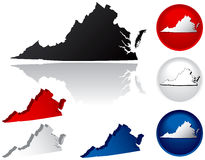 State of Virginia Icons. Virginia Icons in Red White and Blue Royalty Free Stock Image