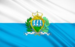 Flag of San Marino. The state and war flag of the Republic of San Marino. A small country within the borders of Italy royalty free illustration