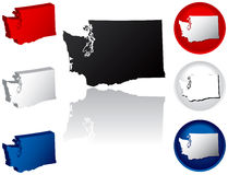 State of Washington Icons. Washington Icons in Red White and Blue Royalty Free Stock Photos