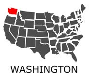 State of Washington on map of USA Stock Photos