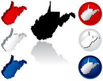State of West Virginia Icons. West Virginia Icons in Red White and Blue Stock Image