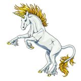 State white and gold unicorn on white Royalty Free Stock Images
