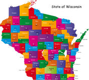 State of Wisconsin. Map of Wisconsin state designed in illustration with the counties and the county seats. (Map is hight resolution Royalty Free Stock Photography