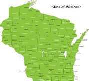 State of Wisconsin. Map of Wisconsin state designed in illustration with the counties and the county seats. (Map is hight resolution Royalty Free Stock Photos