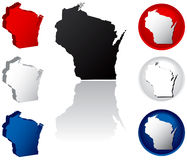 State of Wisconsin Icons. Wisconsin Icons in Red White and Blue Stock Photography