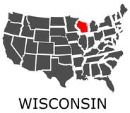 State of Wisconsin on map of USA Stock Photos