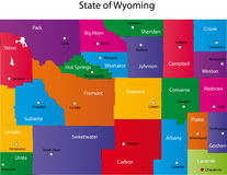 State of Wyoming. Map of Wyoming state designed in illustration with the counties and the county seats Stock Photography
