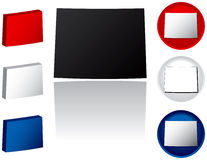 State of Wyoming Icons. Wyoming Icons in Red White and Blue Royalty Free Stock Image