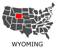 State of Wyoming on map of USA Stock Images