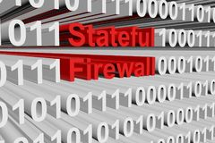 Stateful firewall. In the form of binary code, 3D illustration Royalty Free Stock Photos