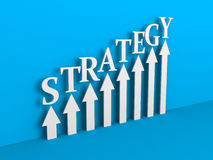 STATEGY Arrows Rising Chart on Blue Background. Business Success. Concept 3d Illustration Stock Photography