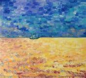 Statek żegluje na kolorowym morzu lasu obraz olejny krajobrazowa rzeka ilustracja wektor