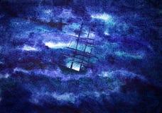 Statek, burza ilustracji