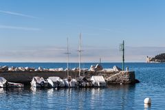 statek cumujący schronienia Kasztel Miramare na tle Fotografia Stock