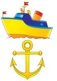 Statek i kotwica Zdjęcie Stock