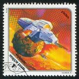 Statek kosmiczny i Phobos Obraz Royalty Free