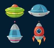 Statek kosmiczny i statek kosmiczny kreskówka ustawiająca dla astronautycznej gry komputeru lub smartphone Fotografia Stock