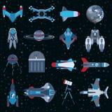 Statek kosmiczny ikon wyposażenia płaski set Kosmonauta astronautycznego kostiumu symbol Wektorowa statek kosmiczny kolekcja Obrazy Royalty Free