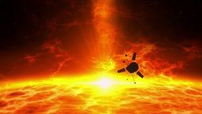 Statek kosmiczny lata nad słoneczną erupcją - eksploracja ilustracji