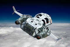 Statek kosmiczny nad chmur zadka widok Zdjęcia Stock
