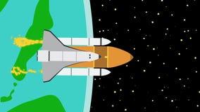 Statek kosmiczny Opuszcza ziemię W kosmos ilustracja wektor