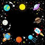 Statek kosmiczny w przestrzeni wśród gwiazd, planety ziemi i księżyc, Mars, Jupiter, księżyc, UFO kreskówki rakieta Dziecko przes ilustracji