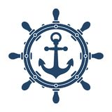 Statek kotwicy i kierownicy nawigaci symbol fotografia royalty free