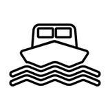 Statek kreskowa ikona Łódź podpisuje wewnątrz konturu styl wektor Zdjęcie Stock