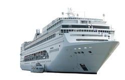 Statek na białym, frontowym widoku, Zdjęcie Stock