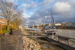 Statek na quay aury rzeka w Turku Zdjęcia Stock