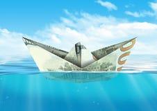 Statek od dolarowego pieniądze unosi się przy oceanem, finansowy pojęcie Zdjęcie Stock