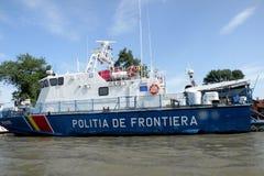 Statek policja graniczna na Danube delty kanale Fotografia Royalty Free