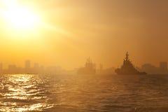 Statek przy schronieniem Zdjęcia Royalty Free