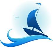 Statek w burzowym morzu ilustracji