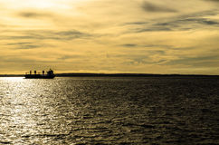 Statek w morzu Obraz Royalty Free