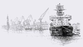 Statek w porcie ilustracja wektor
