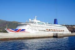 Statek wycieczkowy Oriana w porcie San Sebastian de los angeles Gomera Fotografia Stock