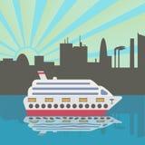 Statek wycieczkowy przyjeżdża w porcie Zmierzch Miasto sylwetka odbijająca w wodzie ilustracja wektor