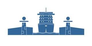 Statek wycieczkowy w kędziorku ilustracji