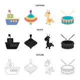 Statek, yule, żyrafa, bęben Zabawki ustawiać inkasowe ikony w kreskówce, czerń, konturu symbolu zapasu ilustraci stylowa wektorow royalty ilustracja