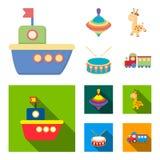 Statek, yule, żyrafa, bęben Zabawki ustawiać inkasowe ikony w kreskówce, mieszkanie symbolu zapasu ilustraci stylowa wektorowa si ilustracja wektor