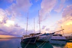 Statek z mrocznym zmierzchem Fotografia Royalty Free