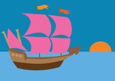 Statek z szkarłatnymi żaglami Zdjęcia Royalty Free