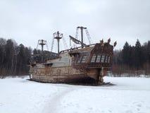 Statek Zima krajobraz z statkiem zdjęcie stock