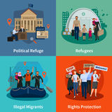 Stateless Refugees 2x2 Design Concept. Stateless refugees  2x2 design concept set of political refuge illegal immigrants rights protection meeting flat Stock Photos