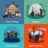 Stateless Refugees 2x2 Design Concept Stock Photos