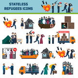 Stateless refugees icons Stock Image