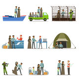 Stateless refugees set. Illigal immigrants and war victims vector illustrations. On a white background Stock Photography
